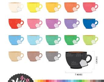 30 Colors Tea Cup Clipart  - Instant Download