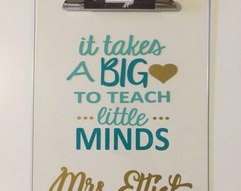 Personalized teacher clipboard, teachers scrapebook clipboard, teacher appreciation gift, teachers gift, teaching little minds, teacher fun