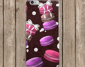 iPhone 5/5s/SE   iPhone 6/6s   iPhone 6 Plus/6s Plus   Coffee and Macarons Brown Background Design iPhone Case