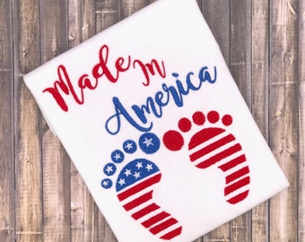 Made In America 4x4, 5x7 Machine embroidery designs,Boy embroidery design, 4th of July appliqué, baby embroidery design