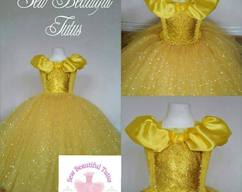 Belle Sparkle Ball Gown Girl tutu dress Beauty and the Beast  - Fun Party Outfit Yellow Cute Birthday