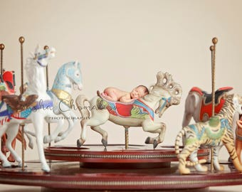 digital backdrop  background newborn baby girl boy  toddler carousel