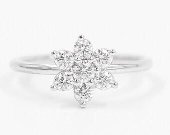 Diamond Wedding Band, Diamond Wedding Ring, Diamond Engagement Band, Diamond Engagement Ring, Flower Diamond Ring
