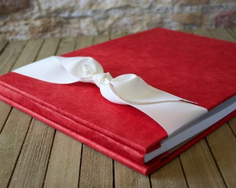 Baby Book- Red Baby Memory Book- Personalized Handmade Hardcover Baby Album- Gender Neutral