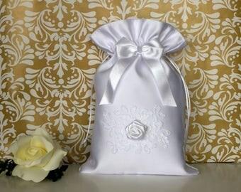 White satin dollar dance bag with white lace and rose, Dollar dance bag for wedding, Wedding money bag, Bridal Purse, Elegant bride bag