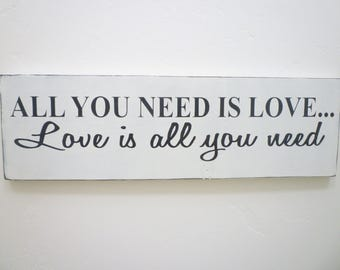 All You Need Is Love, Distressed Wood Sign, Rustic Wood Sign, Shabby Chic, Farmhouse Decor, French Country, Cottage Chic