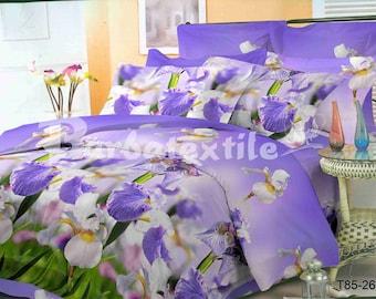 "Purple Iris 3D - EURO bedding set 200x215 cm / 79""x85"" in"