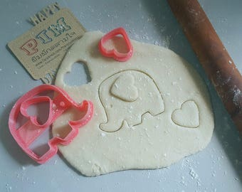Cute  elephant cookie cutter and heart shape for ear