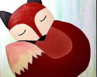 Sleeping Fox Acrylic Painting