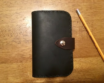 Handmade Two-tone Leather notebook cover with Moleskine notebook -- Black & Chestnut brown