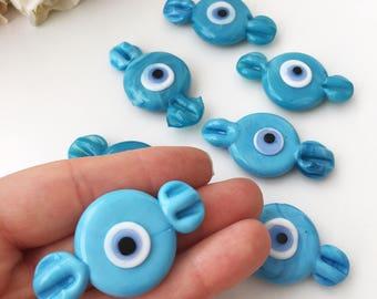 Navy blue evil eye magnet | glass candy magnet | baby boy gifts | fridge candy magnet | greek evil eye bead | mati eye magnet