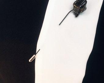 925 silver rhodium plated Raw Quartz pin/ brooch