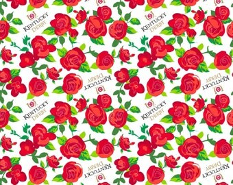 """Kentucky Derby Winner's Circle Roses 100% cotton 43"""" Fabric by the yard, SC113"""