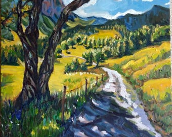 "Original Oil Painting, Path to mountain-landscape, 20""x16"", 1705056"
