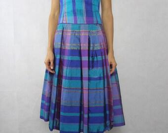 VINTAGEMetallic Plaid Taffeta Dress Size XS-S