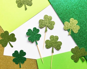 Four Leaf Clover Cupcake Topper | Glitter Shamrock Picks | Saint Patrick's Day Party Decorations | Holiday Decor | St Patty's Day Cupcake