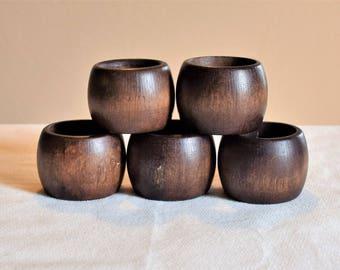 Vintage Set of 5 Wooden Napkin rings