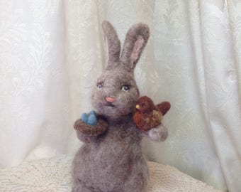 """Felted Wool Bunny Rabbit with Robin and Nest of Eggs by Elsa Jo Ellison, 9"""""""