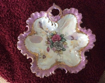 Vintage home decor bowl or platter, lavender with white, pink and green, gold edged
