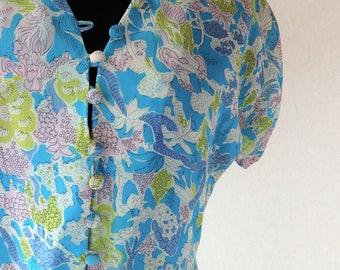 1940s silk dress/ turquoise blue pink  novelty print dress 40s XS