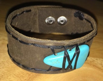 Turquoise Genuine Leather Wristband