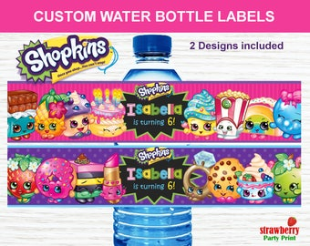 Shopkins Water Bottle Labels, Custom Water Bottle Labels, Shopkins Party Favors Printable, Birthday Party Decoration