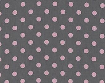 "BTHY - Dumb Dot by Michael Miller Fabrics, Pattern #CX2490-BLOM, 1/4"" Pink Polka Dots on Gray, by the HALF Yard"