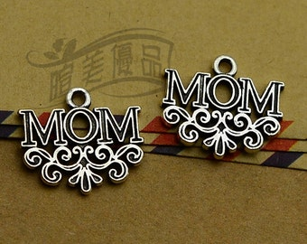 6 Mom Charms Antique Silver Tone Charms Charm Bracelet Bangle Bracelet Pendant #806