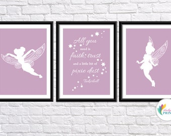 Download - Tinkerbell Printable - Set of 3 Petal Pink Tinkerbell Fairy  Prints - Set of 3