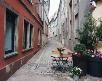 Colmar, France, French, Cobblestone Streets, Print, Photography, Fine Art, Wall Art, Travel, Pastels, Girly, Cafe Sidewalk