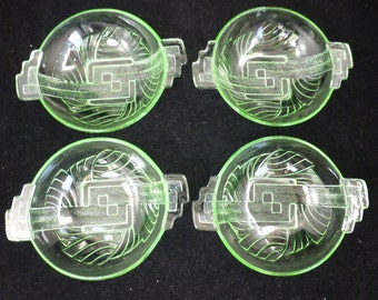 Stolle Niemen Green Glass Art Deco Bowls - set of 4 – Polish - Pattern No 08818 –1923 to 1935 – Vintage and Collectible