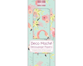 Flamingos Pattern Decoupage Papers x 3 - First Edition