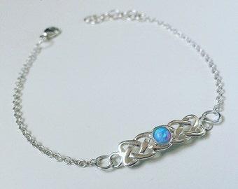Sterling silver handmade celtic blue opal bracelet, birthstone bracelet, stacking gemstone bracelet, dainty grunge / boho bracelet