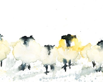 Sheep  in a Row no.2 - Signed print of my original Watercolour Painting
