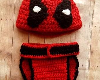 Baby Deadpool Inspired Costume, Deadpool Outfit, Deadpool, Baby Boy Superhero, Baby Gift Set, Gender Neutral, Cosplay, Deadpool Photo Prop