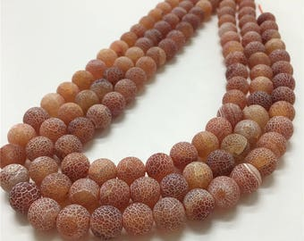 10mm Frosted Agate Beads, Red Agate Beads, Gemstone Beads, Wholesale Beads