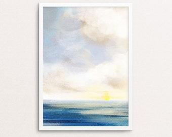 Watercolor ocean print, watercolor sea print, printable landscape, watercolor sky print, ocean wall print, sea print, nature print, wall art