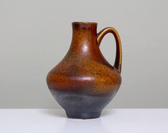 Van Daalen 4707-12: Small Vintage Ceramic West German Vase from the Fat Lava Era with Burnished Brown Glaze - UK Seller