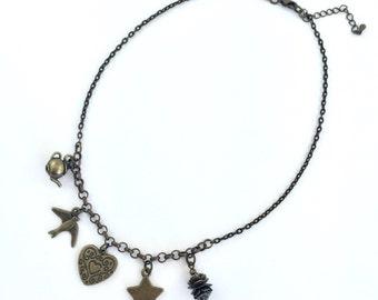 Steampunk Charm Necklace on bronze chain