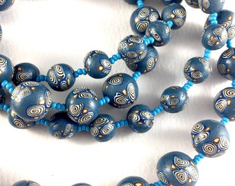 Handcrafted polymer clay long necklace- cornflower blue and white swirls