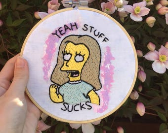 Erin, The Simpsons embroidered hoop art