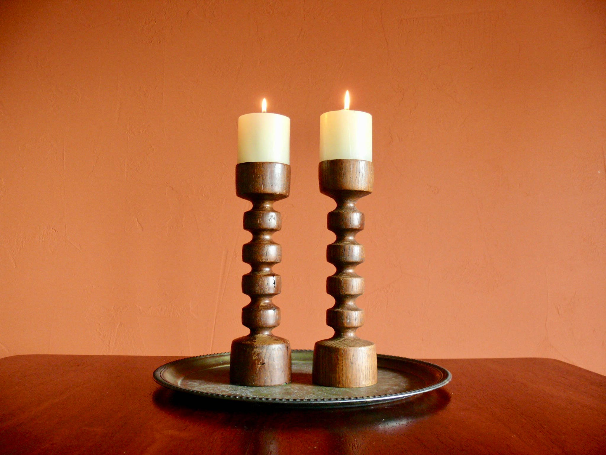 2 hand turned solid wood pillar candle holders rustic tall - Unfinished wood candlestick holders ...
