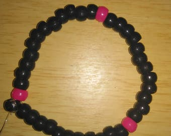 Pink and black pony bead kandi bracelet