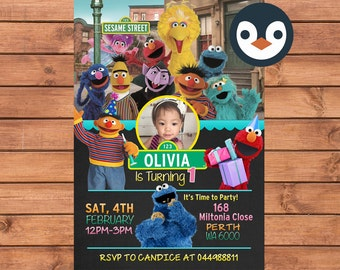 Sesame Street Invitation. Sesame Steet Birthday Party. Party Supplies. Sesame Street Baby Shower.