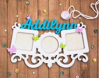 Baby Girl Nursery decor, Nursery sign, 1st birthday gift, Baby name wall art, Baby name sign, Nursery baby frame, Princess Nursery name sign