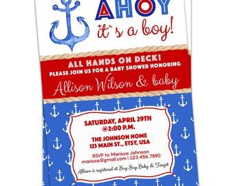 Nautical baby shower invitation boy Etsy