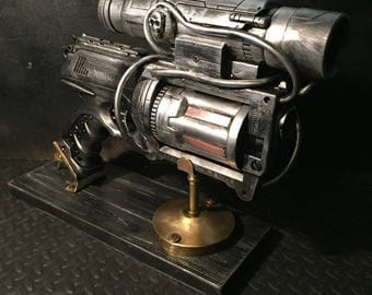 Steampunk Cosplay Nerf Gun Foam Blaster Ray Gun, Shooter Hand Painted Prop Gun With Scope And Pipework, Also Comes With Display Stand.