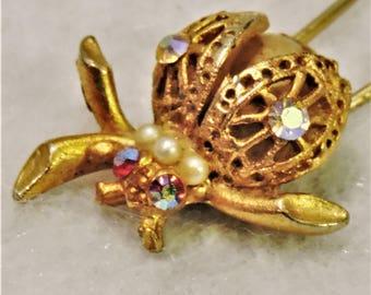 Vintage Jeweled Hair Pin - Vintage Lady Bug Hair Pin