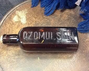 Vintage Ozomulsion Amber Medicine Bottle