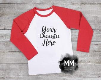 Red Raglan Mockup, Shirt Mockup, T-Shirt Mockup, Styled Shirt Display, Apparel Display, Girl Top Mockup, Boy Top Display Instant Download
